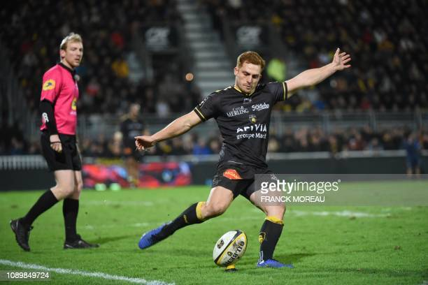 La Rochelle's New Zealand flyhalf Ihaia West prepares to kick the ball during the French Top 14 rugby union match between La Rochelle and Montpellier...