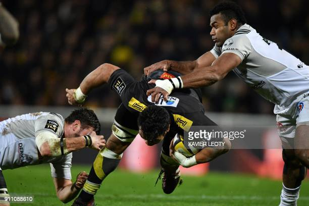 La Rochelle's NewZealand flanker Victor Vito runs with the ball during the French Top 14 rugby union match between La Rochelle and Brive on January...