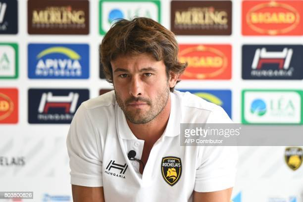 La Rochelle's rugby club coach Xavier Garbajosa gives a press conference on June 30 2017 at the Marcel Deflandre stadium in La Rochelle southwestern...