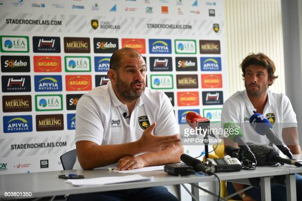 La Rochelle's rugby club head coach Patrice Collazo and coach Xavier Garbajosa give a press conference on June 30 2017 at the Marcel Deflandre...