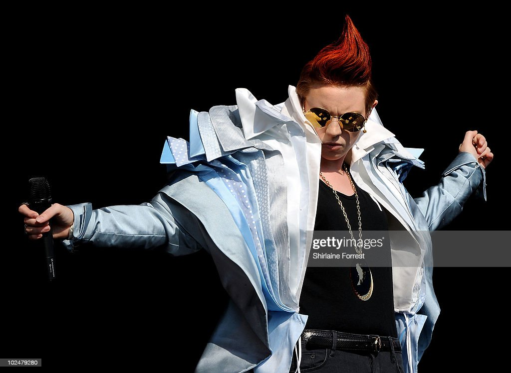 La Roux performs on the Other stage on Day 2 of the Glastonbury Festival at Worthy Farm on June 25, 2010 in Glastonbury, England.