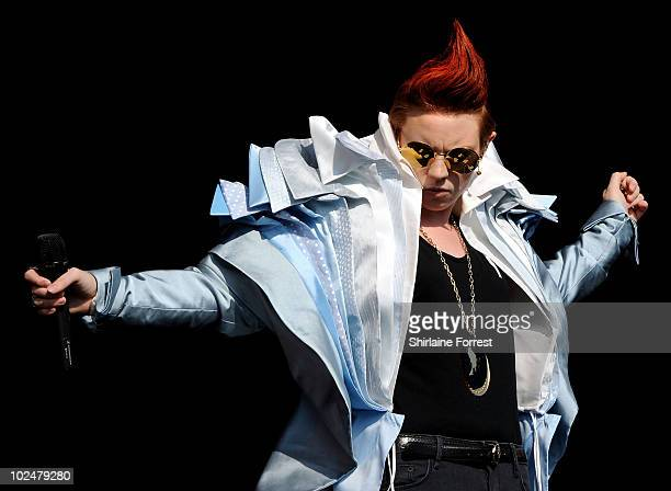 La Roux performs on the Other stage on Day 2 of the Glastonbury Festival at Worthy Farm on June 25 2010 in Glastonbury England