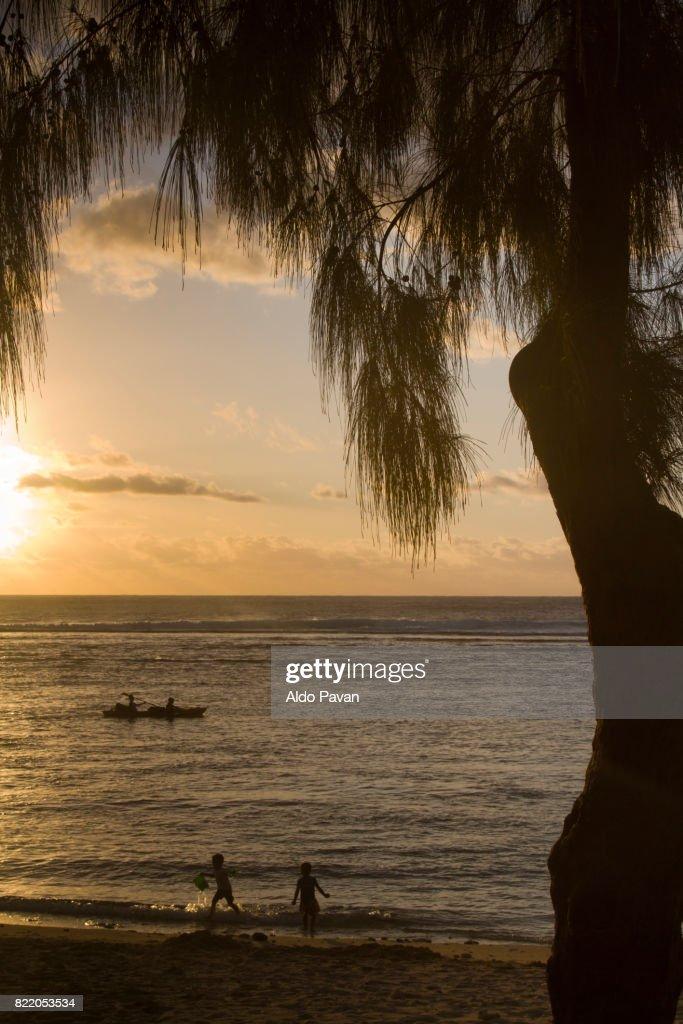 La Réunion, beach of L'Ermitage le Bains : Stock Photo