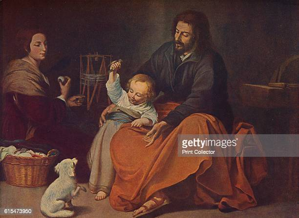 La Sagrada Familia ' c1650 A tender domestic scene showing Virgin Mary winding a skein of thread and watching the Christ Child who leans on Saint...
