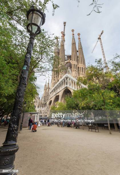 La Sagrada Familia church designed by Antoni Gaudi at sunset. UNESCO World Heritage Site, Barcelona, Catalonia, Spain.
