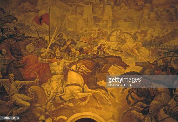 La salle de la ?Couronne de Skanderbeg?, dans le musée national Skanderbeg à Krujë, Albanie.