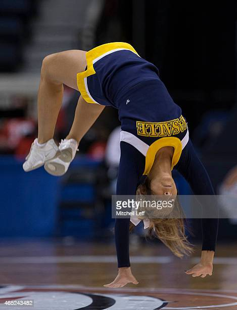 La Salle Explorers cheerleader performs during a timeout in the game against the Davidson Wildcats in the first round of the Women's Atlantic 10...