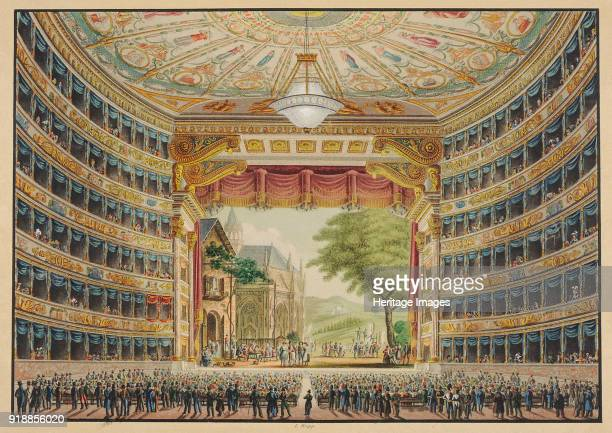 La Scala opera house in Milan Festive Interior 1830 Found in the collection of Theatre Museum Vienna