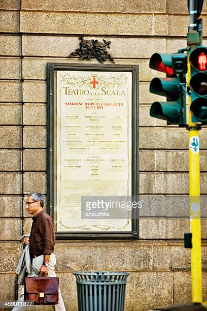 la scala theatre affiche, milan, italy - la scala theatre stock pictures, royalty-free photos & images