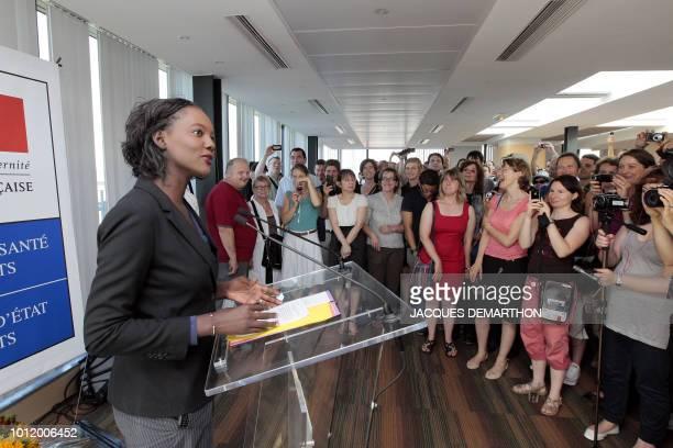 La secrétaire d'Etat aux Sports Rama Yade s'exprime lors d'une conférence de presse de présentation de la délégation Française qui participera aux...