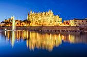 La Seu, Cathedral of Palma de Mallorca, at night