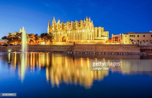 la seu, cathedral of palma de mallorca, at night - palma majorca stock photos and pictures