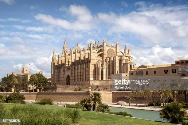 la seu cathedral, palma de mallorca, majorca, balearic islands, spain - palma maiorca - fotografias e filmes do acervo