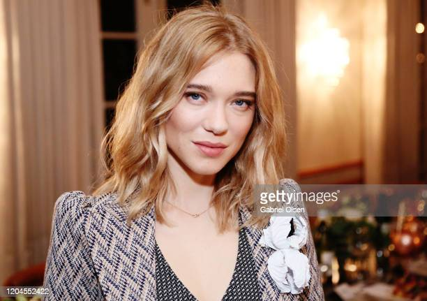 Léa Seydoux attends Red Carpet Green Dress at the Private Residence of Jonas Tahlin CEO of Absolut Elyx on February 06 2020 in Los Angeles California