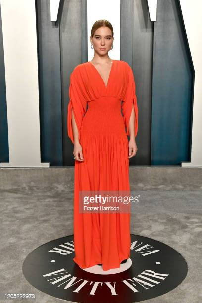 Léa Seydoux attends the 2020 Vanity Fair Oscar Party hosted by Radhika Jones at Wallis Annenberg Center for the Performing Arts on February 09 2020...