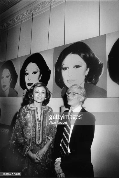 La Shabanou d'Iran Farah Palhavi et Andy Warhol au Waldorf Astoria de New York le 13 juillet 1977