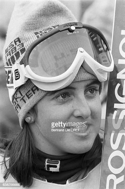 La skieuse américaine Tamara McKinney à Val d'Isère France en 1982