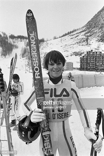 La skieuse française Perrine Pelen à Val d'Isère France en 1982