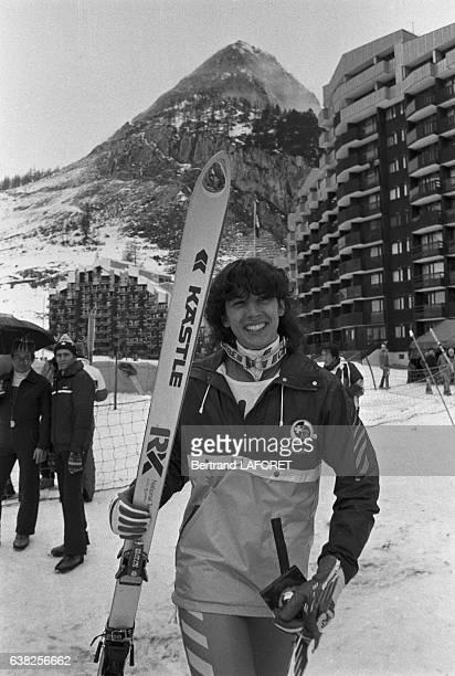 La skieuse suisse Doris de Agostini à Val d'Isère France en 1982