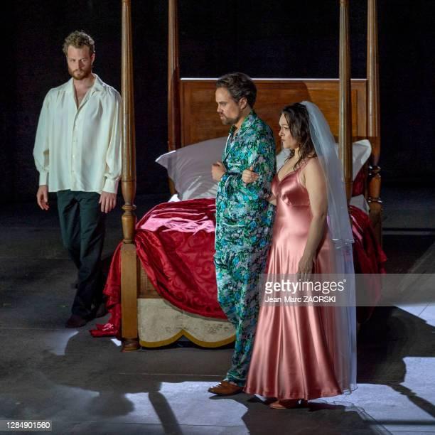 La soprano italienne Eleonora Burrato , le ténor français Julien Behr et le baryton-basse canadien Philippe Sly dans « Don Giovanni » de Wolfgang...