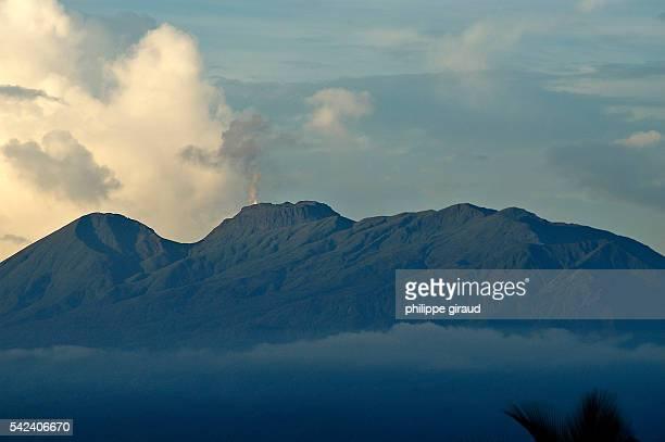 La Soufriere volcano emitting steam in Guadeloupe.   Location: La Soufriere, Guadeloupe, France.