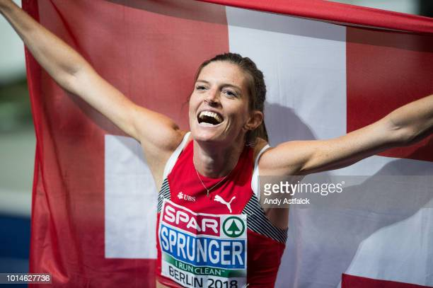 Léa Sprunger from Switzerland during Women's 400m Hurdles Final on Day 4 of the European Athletics Championships at Olympiastadion on August 10 2018...