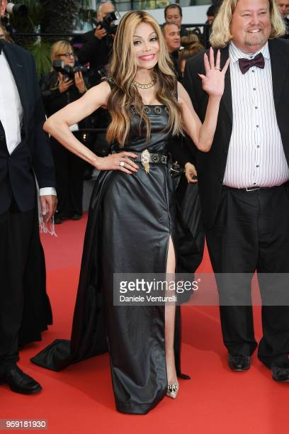 La Toya Jackson waves as she attends the screening of Burning during the 71st annual Cannes Film Festival at Palais des Festivals on May 16 2018 in...