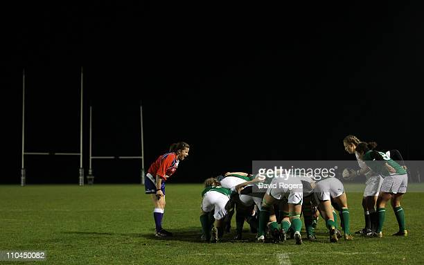 La Toya Mason of England prepares to feed the ball into the scrum during the Womens Six Nations match between Ireland and England at Ashbourne Rugby...