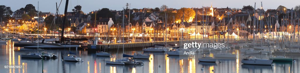 La Trinite-sur-Mer (Brittany, north-western France): the marina and the quays at nightfall.