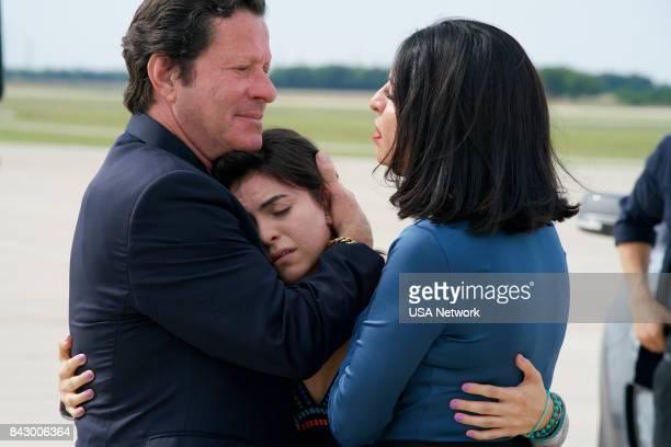 """La Ultima Hora Mata"""" Episode 213 -- Pictured: Joaquim de Almeida as Don Epifanio Vargas, Sandy Valles as Isabela Vargas, Veronica Falcon as Camila..."""