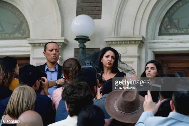 "La Ultima Hora Mata"" Episode 213 -- Pictured: Yancy Arias as Colonel ALberto Cotez, Veronica Falcon as Camila Vargas, Sandy Valles as Isabela Vargas..."