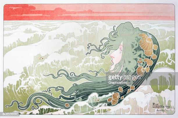 La Vague poster by Henri Privat Livemont color lithograph 32 x 494 cm private collection