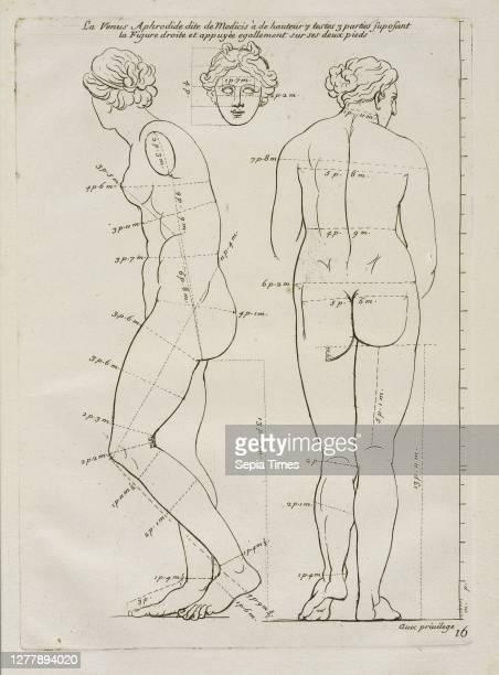 La Venus Aphrodide, Les proportions du corps humain: mesurées sur les plus belles figures de l'antiquité, Audran, Gérard, 1640-1703, Etching Plate...