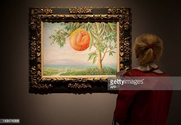 'La Vie Heureuse' by Rene Magritte is admired during a press preview for Sotheby's Masters Auction April 27 2012 in New York The auction of...