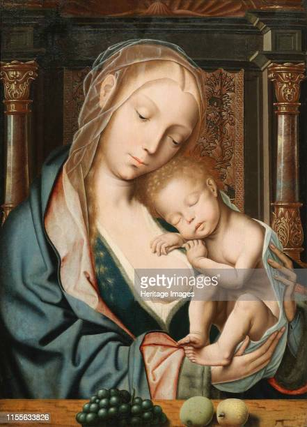 La Vierge aux raisins , 16th century. Found in the Collection of Musée des beaux-arts, Troyes. Artist Massys, Quentin .