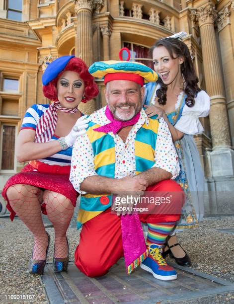 La Voix Andy Collins and Amelia AdamsPearce attend the Beauty The Beast pantomime press launch at Waddesdon Manor Aylesbury