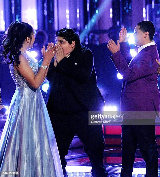 'La Voz Kids' winner Christopher Rivera and finalists Alejandra Gallardo and Axel Cabrera react during Telemundo 'La Voz Kids' Finale at Universal...