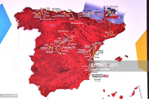 La Vuelta 2019 Route / Map / Illustration / during the 74th Tour of Spain 2019 - Route Presentation on December 19, 2018 in Alicante, Spain.