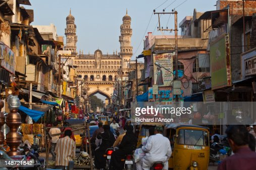 laad bazaar and the charminar stock photo