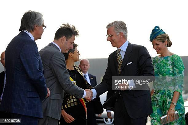 Laarne mayor Ignace De Baerdemaeker, Antwerp mayor Bart De Wever, Antwerp province governor Cathy Berx, Queen Mathilde of Belgium and King Philippe...