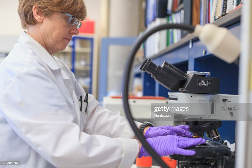 Lab Chemist Placing A Sample Slide On A Microscope Stage Stock Photo ...