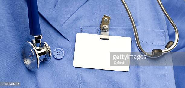 lab coat with id - clip stock pictures, royalty-free photos & images
