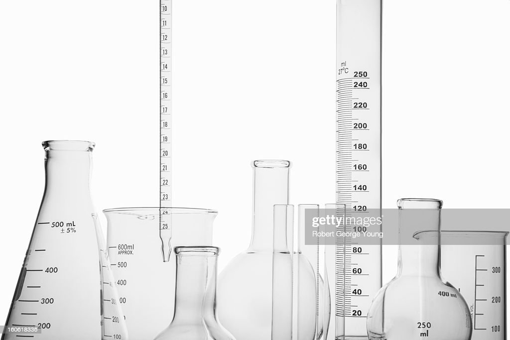 Lab equipment or glassware on a white background : Stock Photo