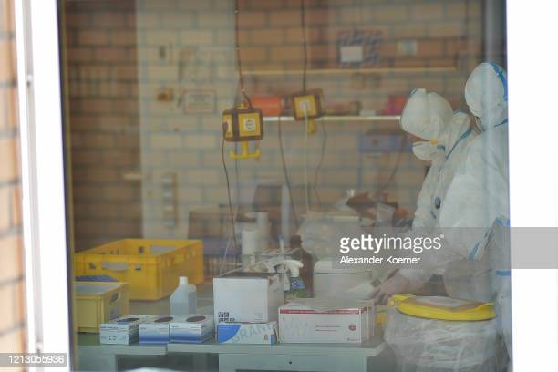 Lab technician analyse swab samples for possible Covid19 infection at the Chemical and Veterinary Analysis Office of East WestphaliaLippe on May 15...