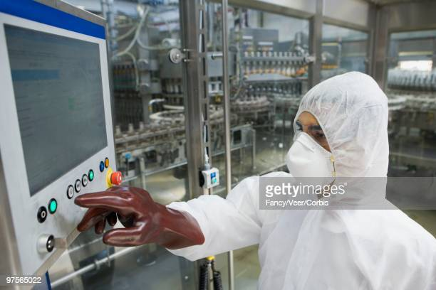 Lab technician using monitor