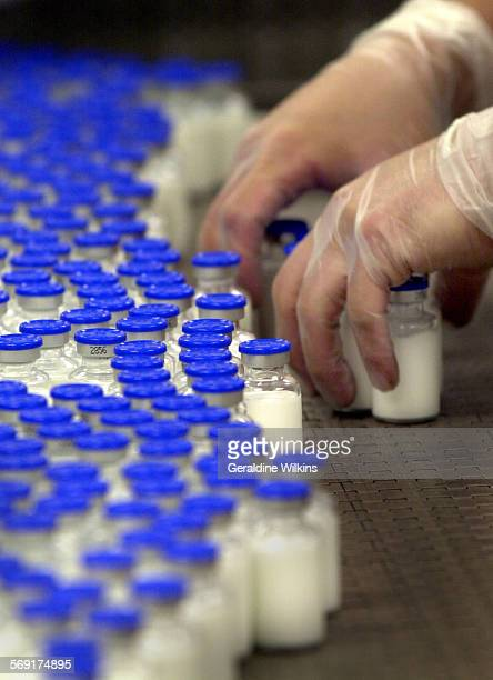 Lab technicians at Sicor IncPharmaceuticals at the end of the filling line place Propofol vials in containers in preparation for sterilization Sicor...