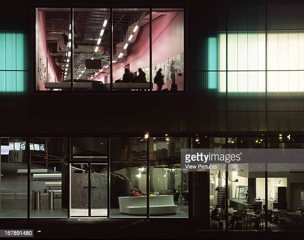 Laban Dance Centre London United Kingdom Architect Herzog De Meuron Laban Dance Centre Entrance Elevation At Night With Pink Wedge Above