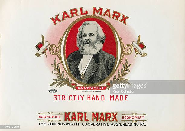 A label for an Economist cigar box featuring German philosopher Karl Marx