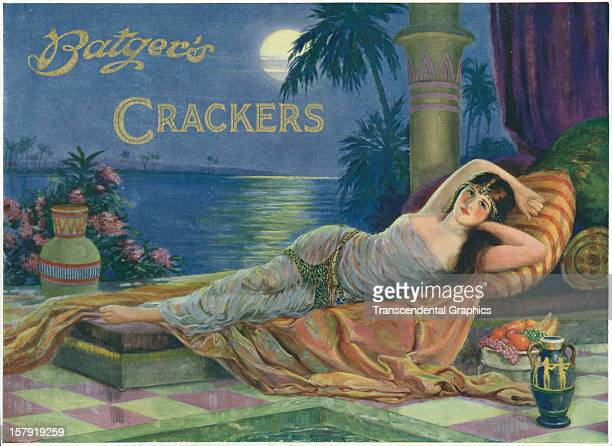 A label for English crackers using a classical female pose was produced circa 1930 in London England