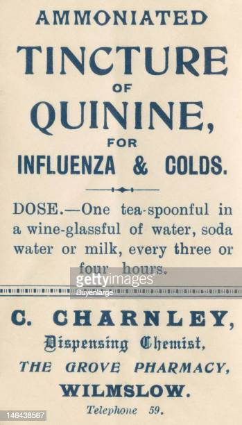 Label from a bottle of 'Ammoniated Tincture of Quinine' from the Charles Charnley Pharmacy Wilmslow Cheshire England early twentieth century